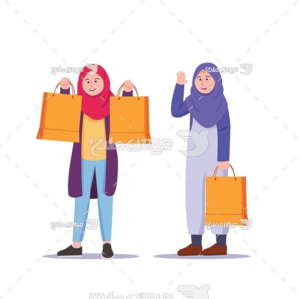 وکتور کاراکتر زن با حجاب در حال خرید