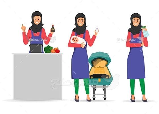 وکتور کاراکتر حجاب زن خانه دار