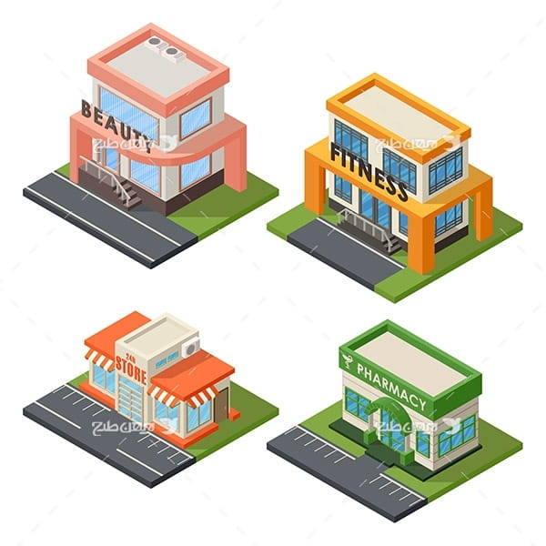 طرح گرافیکی وکتور سه بعدی ساختمان