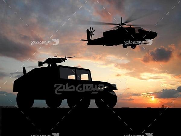 تصویر هلیکوپتر و ماشین نظامی