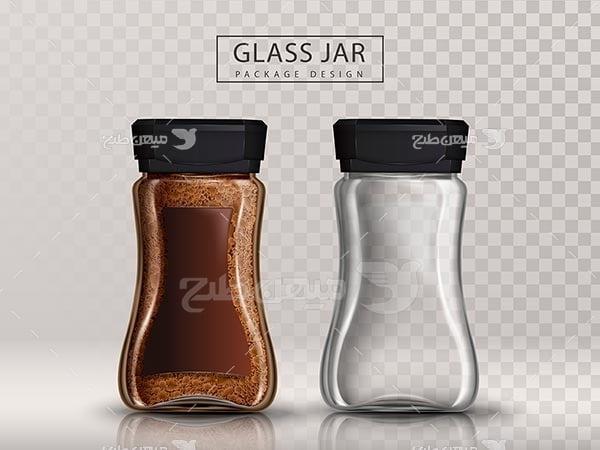 وکتور قوطی شیشه ای قهوه