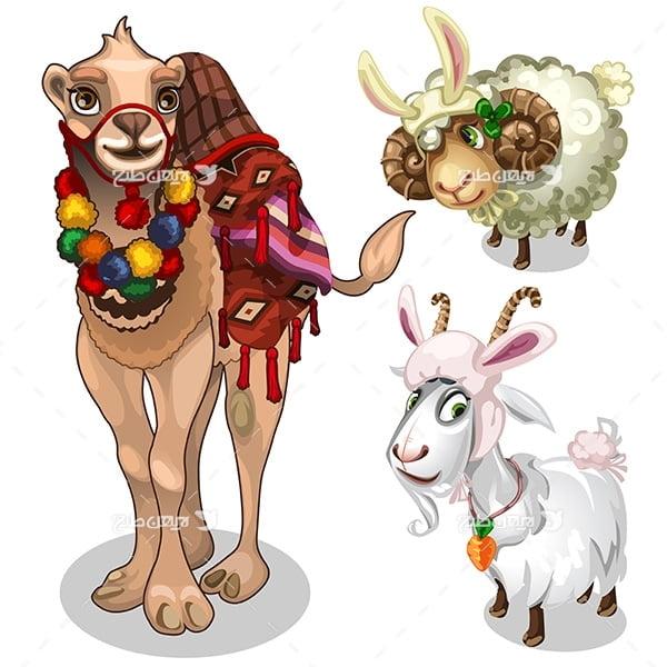 طرح گرافیکی وکتور  شتر و گوسفند