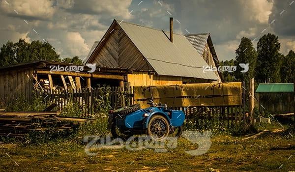 مزرعه کشاورزی ، تراکتور و خانه