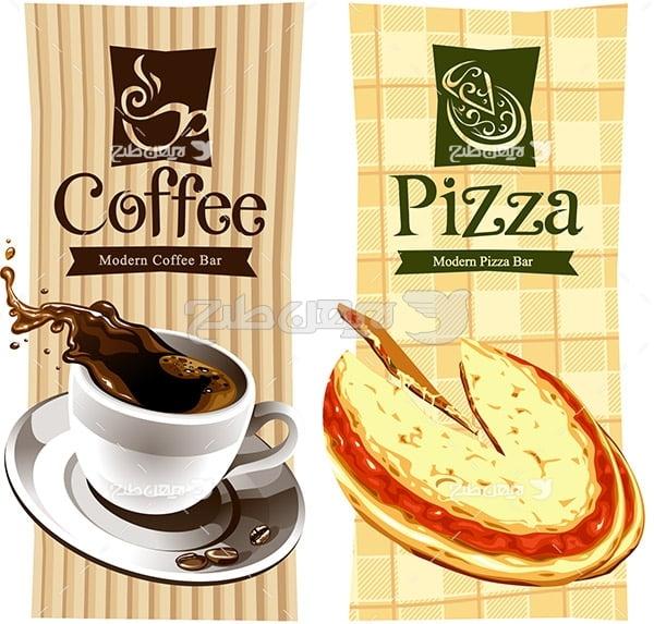 وکتور پیتزا و قهوه