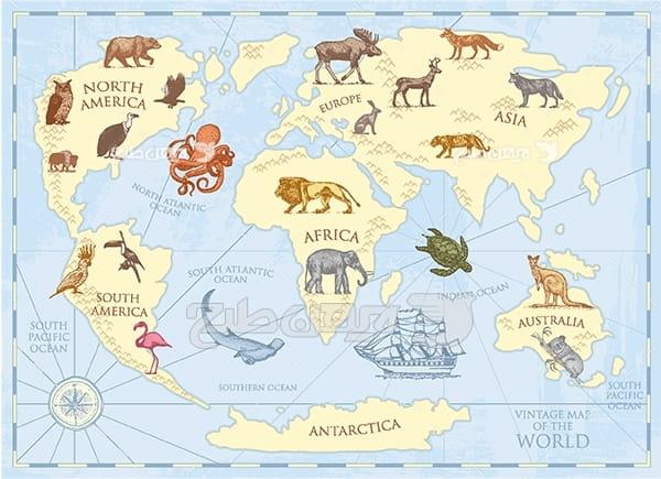 وکتور نقشه محل زندگی حیوانات مختلف