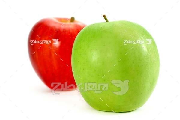 عکس میوه سیب سبز و قرمز