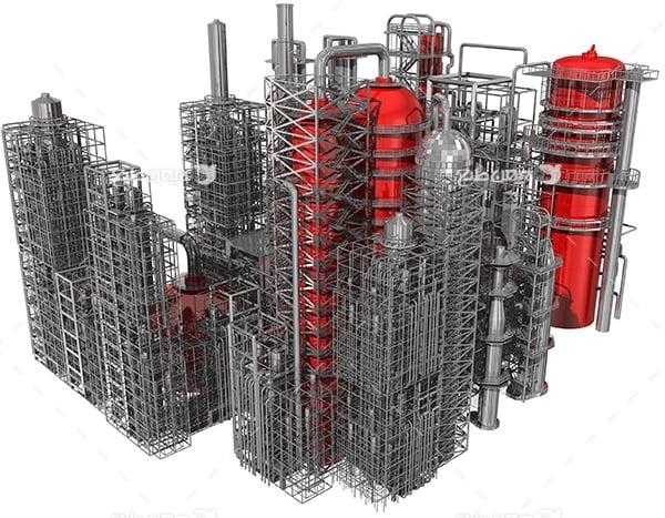 تصویر صنعتی سه بعدی از پتروشیمی و پالایشگاه