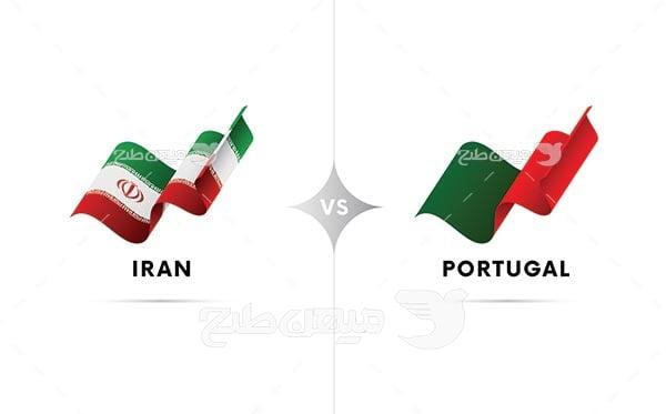 وکتور پرچم ایران و پرتغال