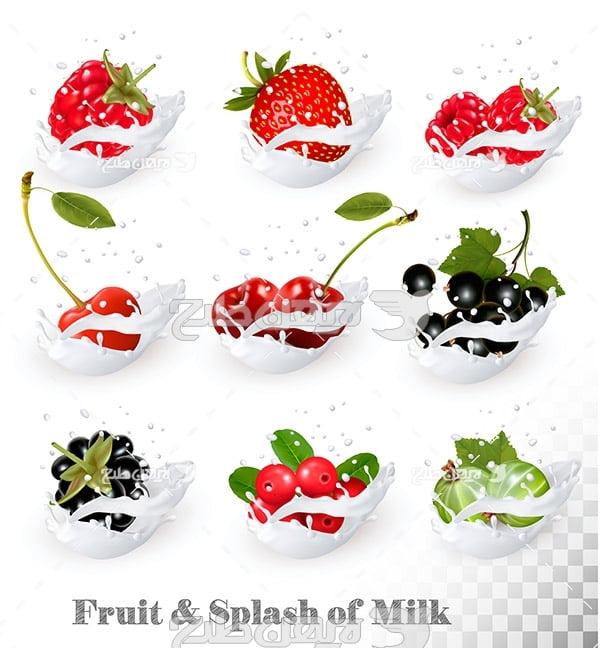 وکتور شیر و میوه ها