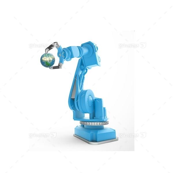 تصویر ربات صنعتی و کره زمین