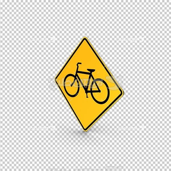 تصویر دور بری سه بعدی تابلو عبور دوچرخه سوار