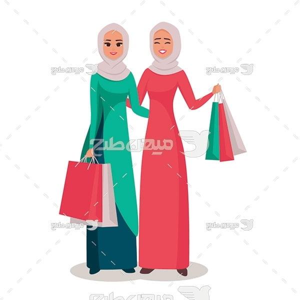 وکتور کارکتر زن با حجاب و خرید از فروشگاه