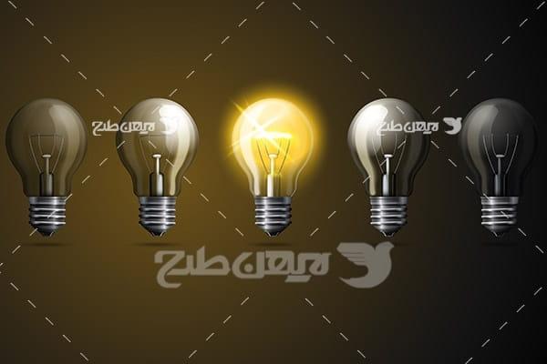 وکتور گرافیکی لایه باز لامپ نورانی و الکتریکی