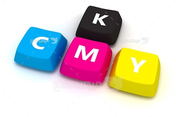 عکس نماد رنگ چاپ و تبلیغات CMYK به شکل دکمه کیبورد