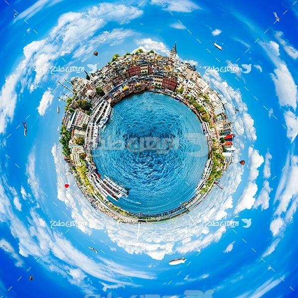 تصویر مسافرت و گردشگری و ساختمانهای شهر به صورت کروی
