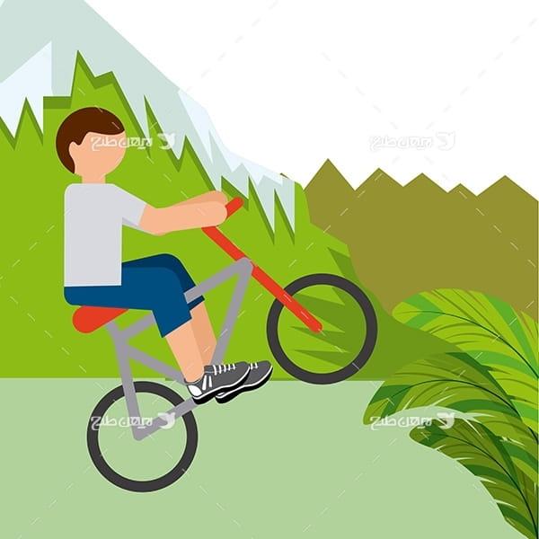 طرح وکتور گرافیکی با موضوع ورزش دوچرخه سواری