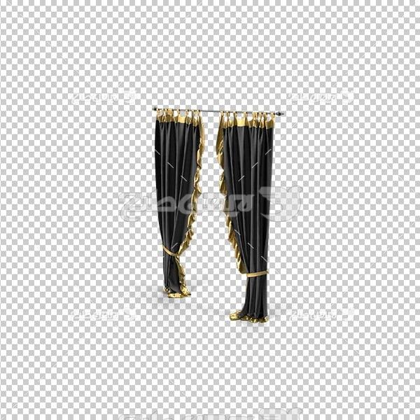 تصویر دوربری سه بعدی پرده مشکی طلایی