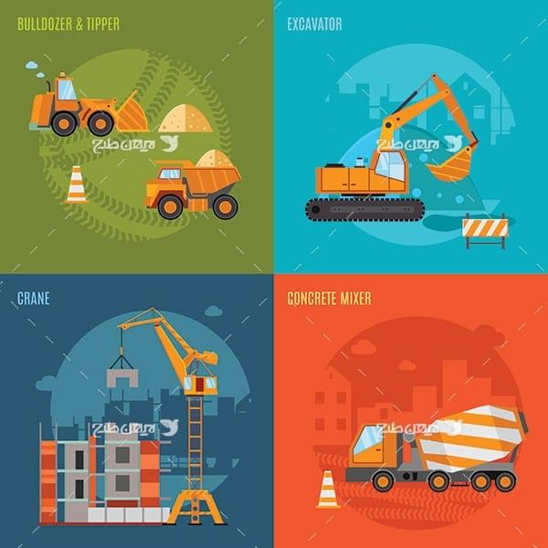طرح وکتور کامیون، جرثقیل،کامیون بتن ریز،لودر، ماشین های صنعتی و ماشین آلات سنگین