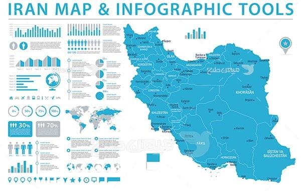 وکتور اینفوگرافیک نقشه ایران و استان ها
