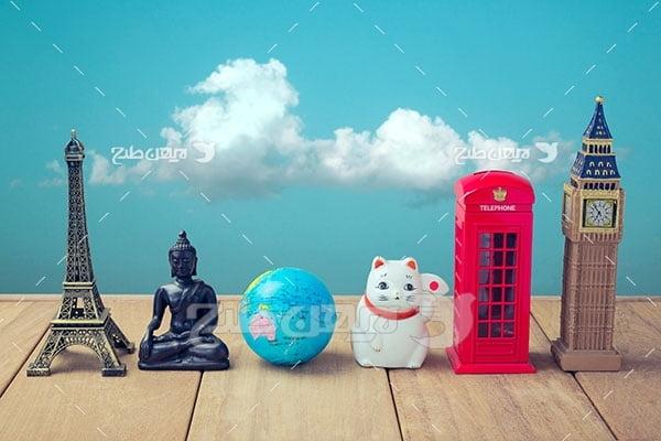 تصویر برج ایفل، بودا ، کره زمین