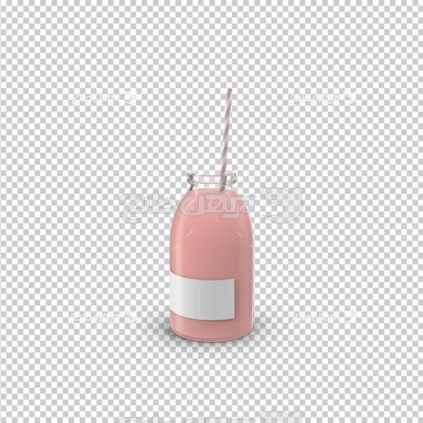 تصویر دوربری سه بعدی نوشیدنی با نی