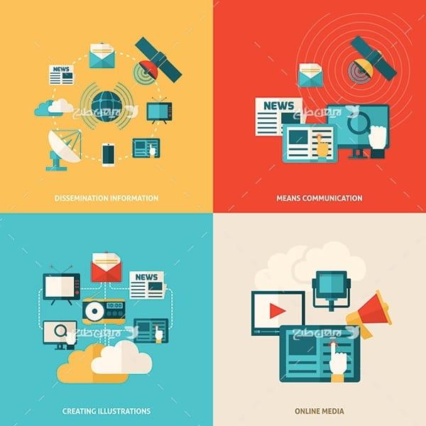 طرح وکتور کامپیوتر و خدمات آنلاین و ماهواره