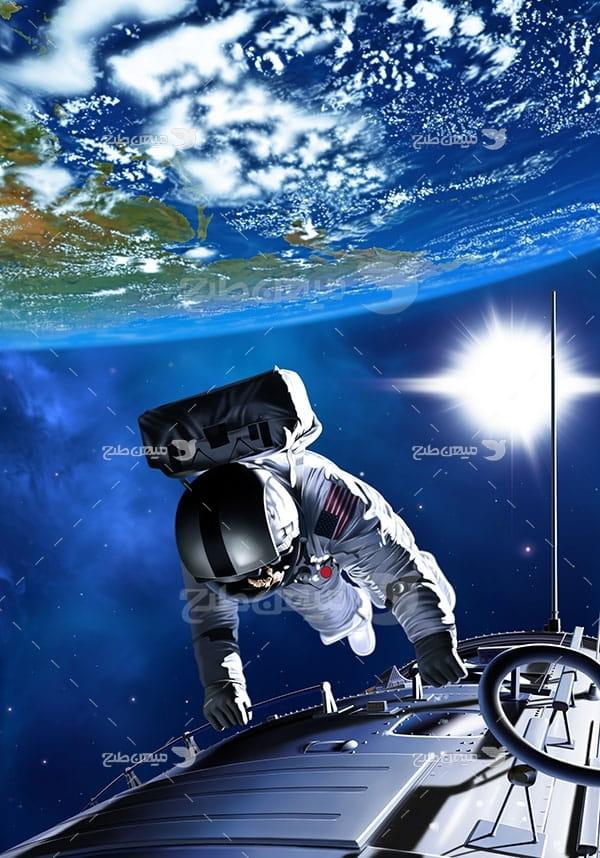 عکس فضانورد و تلسکوپ