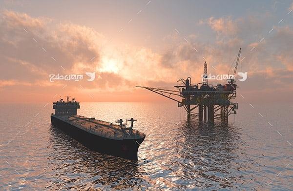 تصویر صنعتی از دکل نفت در دریا و نفتکش