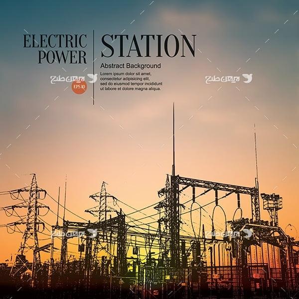 طرح وکتور نیروگاه برق