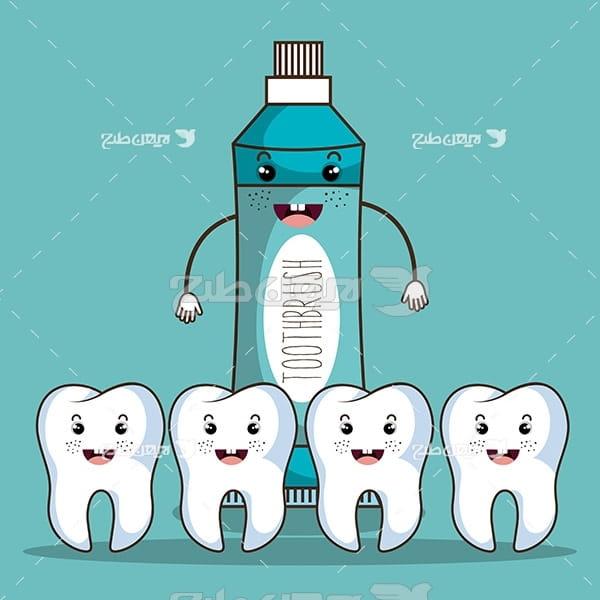 وکتور گرافیکی دندان و خمیردندان