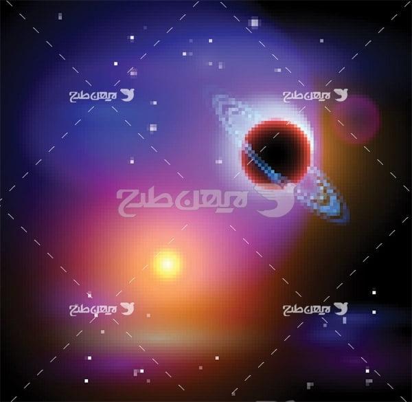 وکتور فاصله زمین و خورشید در فضا