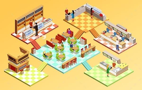 طرح وکتور سه بعدی فروشگاه مواد غذایی و هایپر مارکت