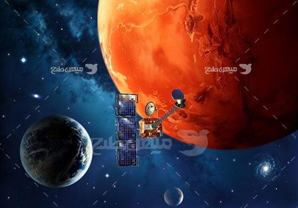 عکس فضاپیما و سیاره زمین و مریخ