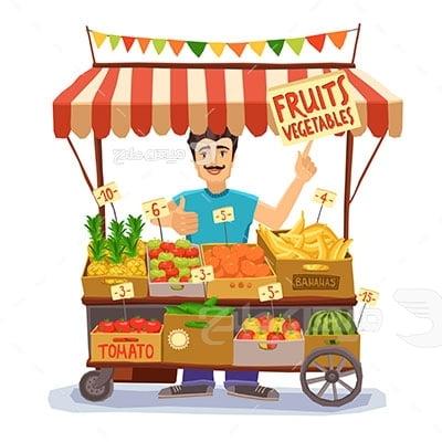 وکتور کاراکتر سبزیجات و میوه فروشی