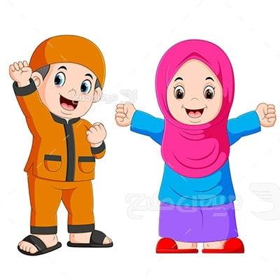 وکتور کاراکتر حجاب کودک دانش آموز
