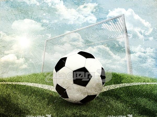 عکس توپ فوتبال و دروازه