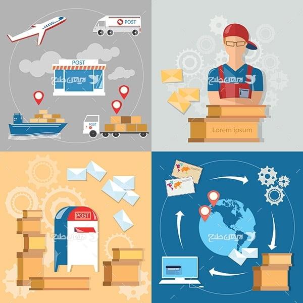 طرح وکتور گرافیکی پست و نامه و حمل نقل هوایی