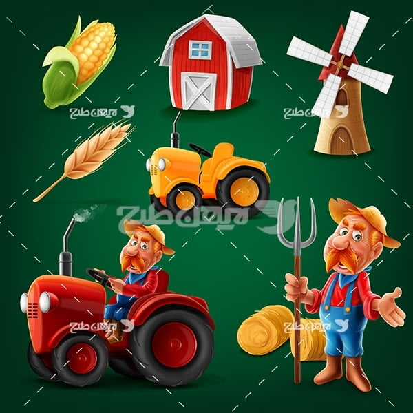طرح وکتور کارکتر کشاورز و تراکتور ، خانه ، گندوم ، ذرت ،