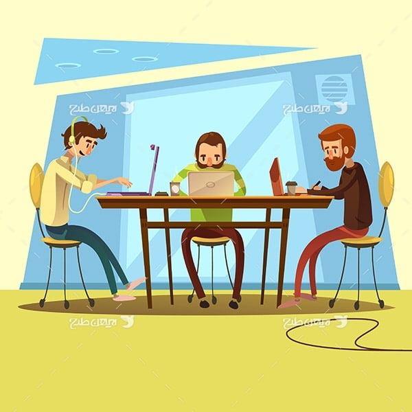 طرح وکتور گرافیکی با موضوع کار با کامپیوتر