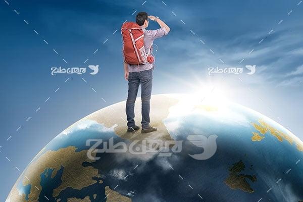 تصویر مسافر و کره زمین