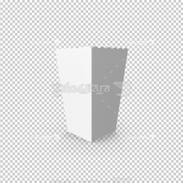 تصویر دوربری سه بعدی جعبه پاپ کورن