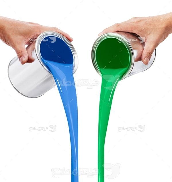 عکس سطل رنگ آبی و سبز