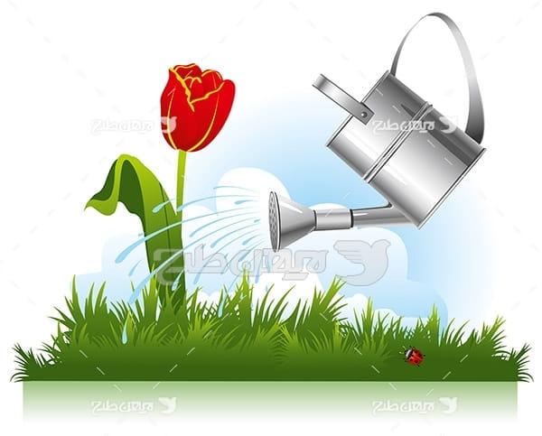 وکتور آب دادن به گل