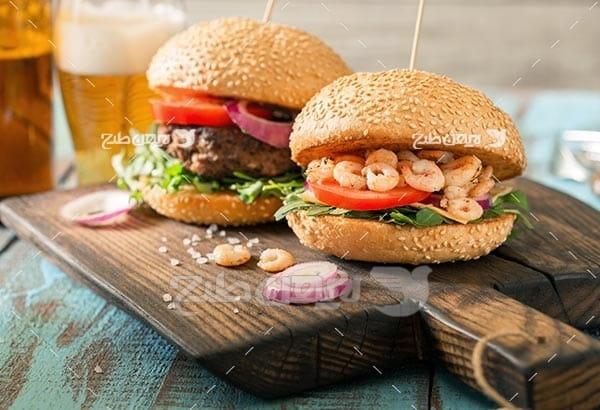 ساندویچ میگو و برگر