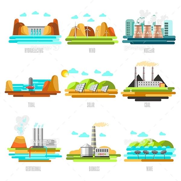 طرح وکتور صنعتی پتروشیمی و نیروگاه برق و نیروگاه اتمی و سد آب و انرژی خورشیدی