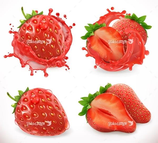 طرح وکتور گرافیکی با موضوع میوه توت فرنگی