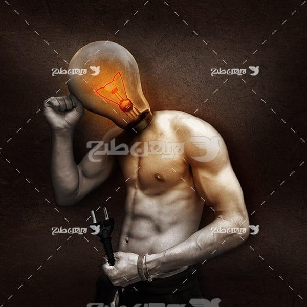 عکس با کیفیت از لامپ و بدن انسان