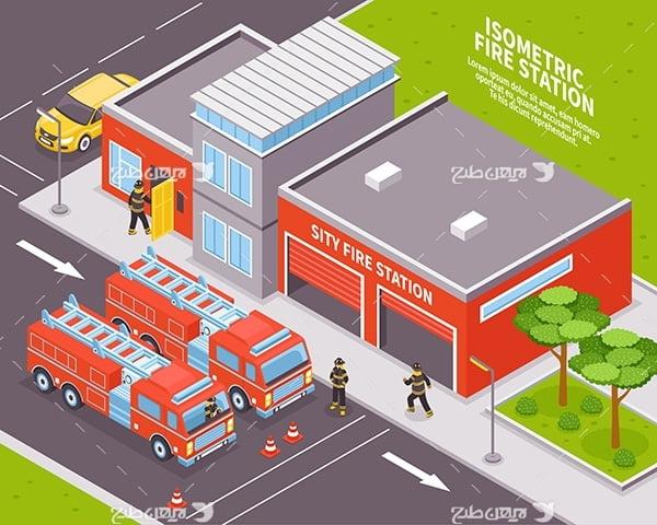 طرح وکتور سه بعدی ساختمان آتش نشانی