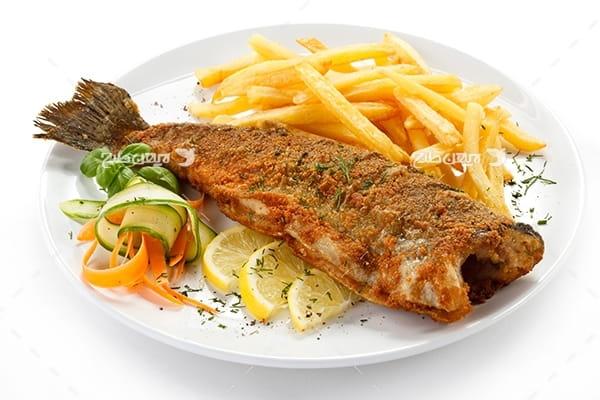 عکس غذای ماهی کباب و سیب زمینی