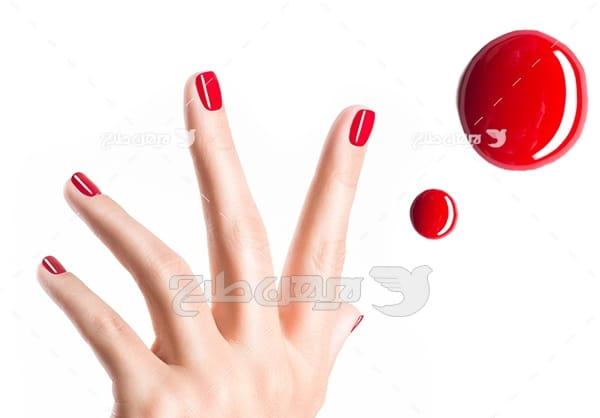 عکس ناخن با لاک قرمز